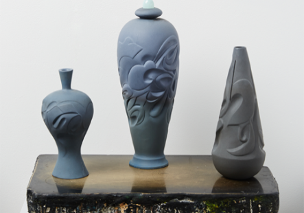 Paste, Blue Tone Series, Carved Vase Collection