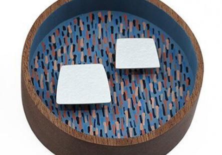 Blue Round Brooch