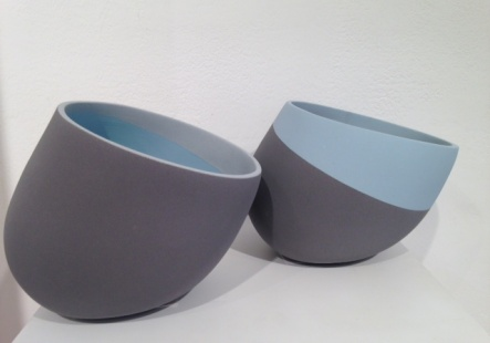 Vessels with grey and blue