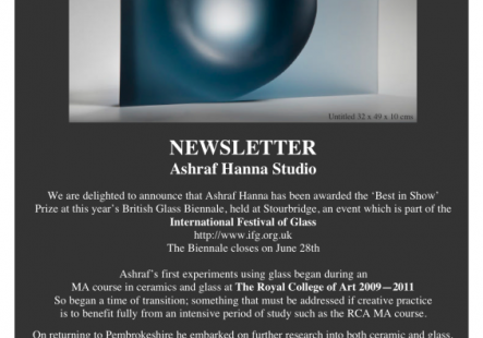Ashraf Hanna has been awarded the 'Best in Show' Prize at this year's British Glass Biennale