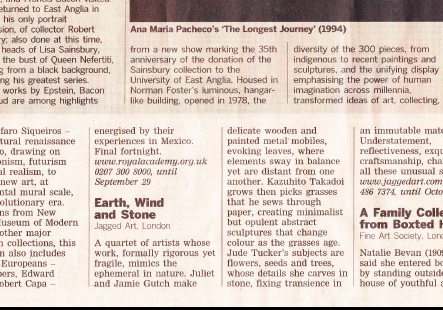 FT Critics' Choice: Earth, Wind and Stone