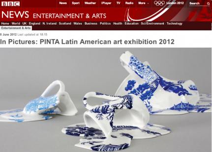 Livia Marin's ceramic works from the series Nomad Patterns, exhibited by the gallery at PINTA, has been featured on the BBC website