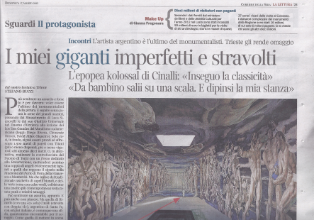 Ricardo Cinalli's art work is featured in Italian newspaper Corriere della Sera