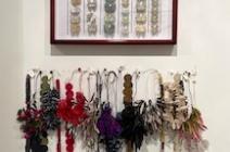 "Above: Tracey Bush ""British Butterflies"", below: Ana Hagopian: Selection of Paper Necklaces"