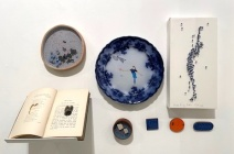 """(Clockwise) Jeremy May """"The pleasures of Life"""" (Book Ring), Emily Kidson """"Grey"""", Charlotte Hodes """"Women in Conversation, launch"""" (plate), Rachel Shaw Ashton """"Breaths for my brother"""" (SOLD), Emily Kidson: Brooches"""