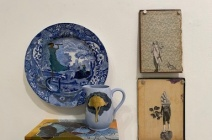 """(Clockwise) Charlotte Hodes """"Women in conversation, telescopic view"""" (plate, jug and painting), Monica Fierro """"La Vacuna II"""" (The Vaccine) and """"untitled"""" (shell)"""
