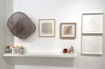 """Left Above: Kazuhito Takadoi JIN (Kernel), Below: Lara Scobie: Vessels, Center: Lizzie Kimbley """"Discarded Materials""""(SOLD), Thurle Wright """"Marking Time I"""", Charlotte Hodes """"Women in Conversation, shouting 2020"""" and """"Women in Conversation, listening flowers 2020"""", Right: Lis Costa """"Gold Series"""""""