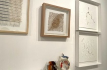 """Lizzie Kimbley """"Discarded Materials"""", Thurle Wright """"Marking Time I"""", Charlotte Hodes """"Women in Conversation, shouting 2020"""" and """"Women in Conversation, listening flowers 2020"""", Right: Lis Costa """"Gold Series"""""""