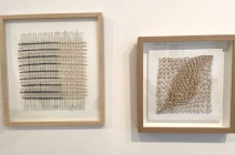 """Left: Lizzie Kimbley """"Discarded Materials"""", Right: Thurle Wright """"Marking Time I"""". Text cut from pages of Proust's novel 'Le Temps Retrouve' and tea on canvas."""