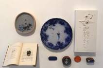 """(Clockwise) Jeremy May """"The pleasures of Life"""" (Book Ring), Emily Kidson """"Grey"""", Charlotte Hodes """"Women in Conversation, launch"""" (plate), Rachel Shaw Ashton """"The Persistence of Memory III"""", Emily Kidson: Brooches"""